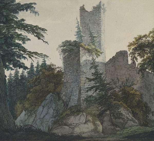 Fohr, Carl Philipp, 1795-1818. The Ruins of Hohenbaden 1814-1815, Thaw Collection (EVT 63 recto)