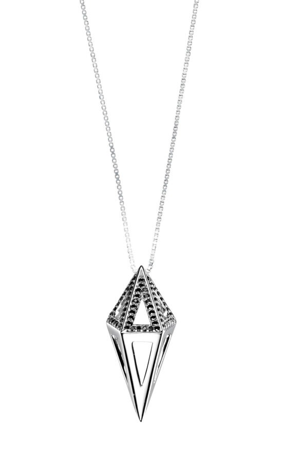 Cocoon Necklace in White Gold with Black Diamonds (1)