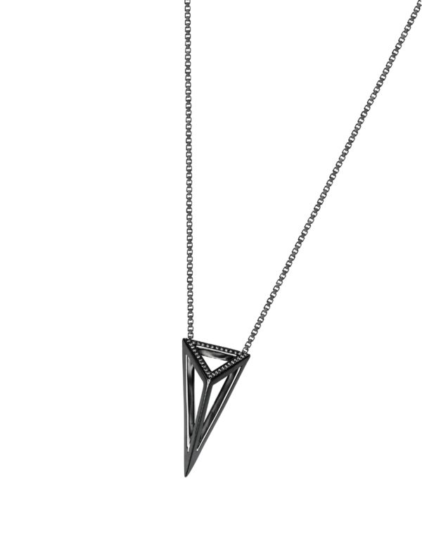 Moratorium_Oversize Pyramid_Necklace_White Diamond_Black Rhodium