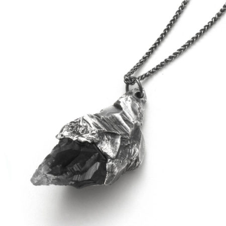 The Alicia Hannah Naomi Arete Pendant. Each piece is made in Melbourne from sterling silver.Each piece is created using the lost-wax casting technique; hand carved in wax, then cast in metal and finished by hand.Due to the hand-dying process, each resin crystal mountain displays unique pigment characteristics.