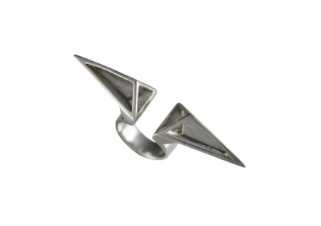 Horizontal double cut away pyramid knuckle ring.Ring measure 56mm from point to point and the ring shank is 13mm at the widest and narrows to 6.5mm.Sterling silver.Made to order.