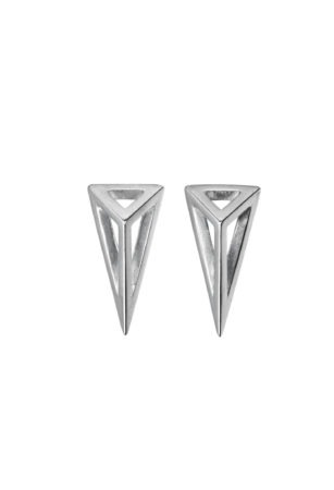 Mortorium Mini Cut Away Pyramid Stud Earrings.Sterling silver.Made to order.