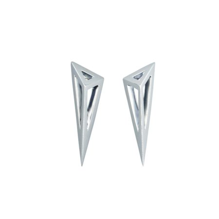 Moratorium Asymmetric Pyramid EarringsSterling silver.Made to order.