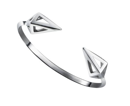 "Moratorium Triangle edged cuff with Mini Cocoon on each end, 6"" finished.Sterling silver.Made to order."