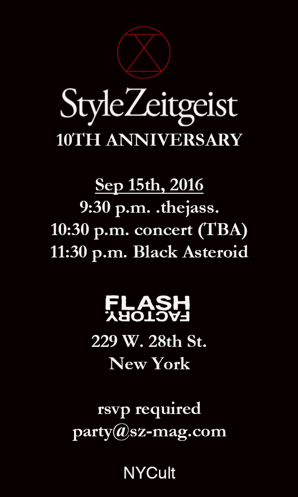 StyleZeitgeist StyleZeitgeist 10th Anniversary Celebration Events  SZ10 StyleZeitgeist Flash Factory Events Black Asteroid