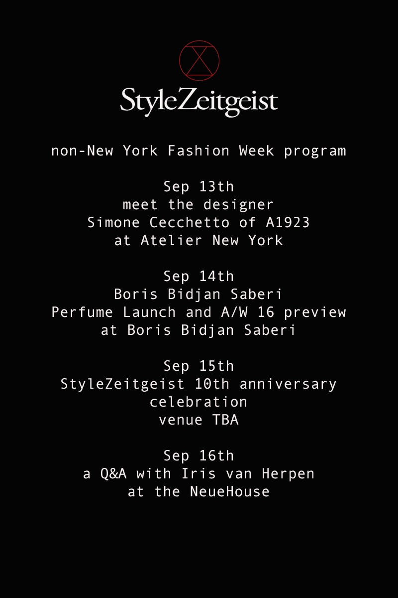 StyleZeitgeist New York Fashion Week Program