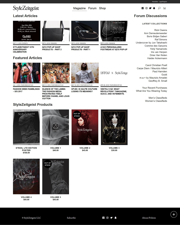 The New StyleZeitgeist Website - events - Website, StyleZeitgeist, Events
