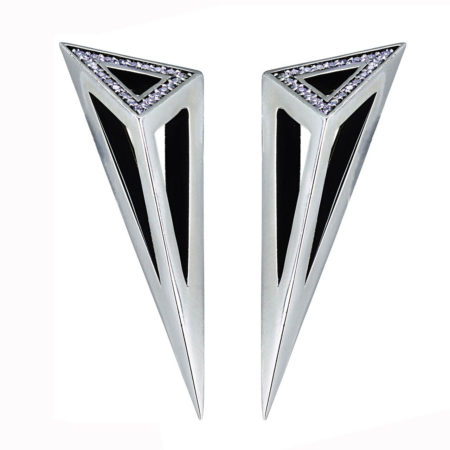 Asymmetric Pyramid Half Pave Earrings. All Moratorium Fine Jewelry is customizable, please email info@moratorium.nyc for inquiries.