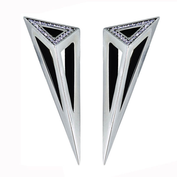 Moratorium Asymmetric Pyramid Single Face Pave Earrings