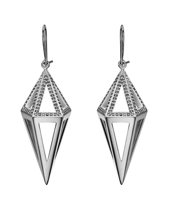 StyleZeitgeist Moratorium Cocoon Half Pavé Drop Earrings