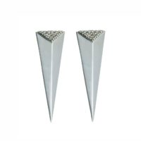 Moratorium Long Pyramid Half Pavé Earrings -  -