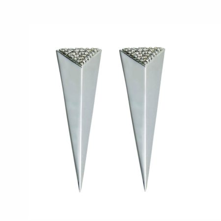 Long Pyramid Half Pave Earrings. All Moratorium Fine Jewelry is customizable, please email info@moratorium.nyc for inquiries.