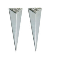 Moratorium Long Pyramid Half Pavé Earrings - womens-jewelry, jewelery, earrings -