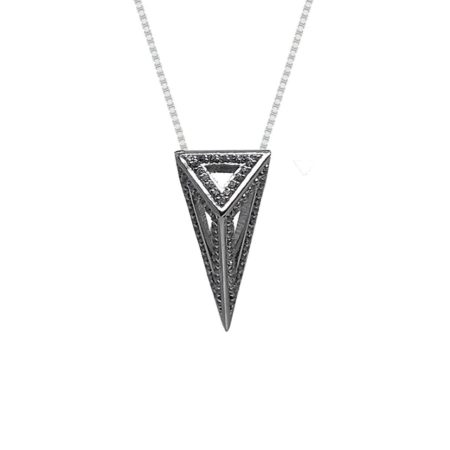 Moratorium Mini Pyramid Full Pavé Pendant Necklace -  -