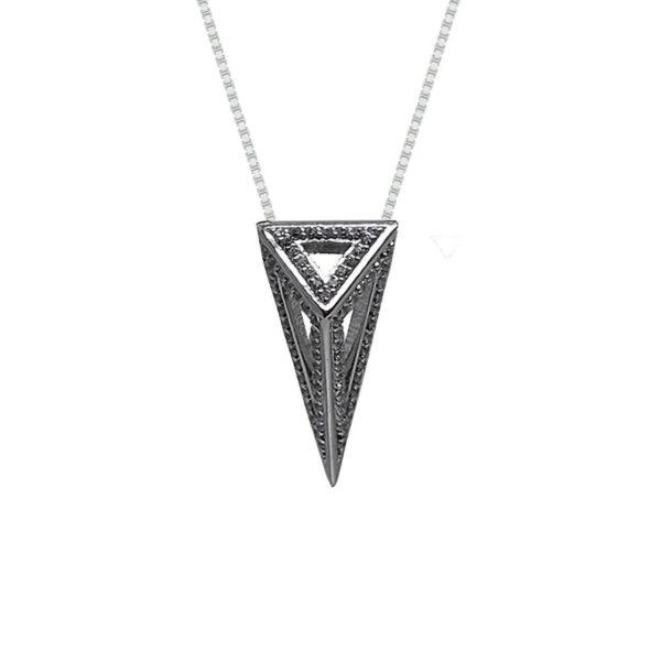 StyleZeitgeist Moratorium Mini Pyramid Full Pavé Pendant Necklace