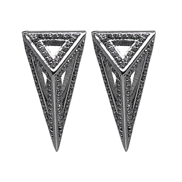 Moratorium Mini Pyramid Full Pavé Earrings -  -
