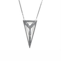 Moratorium Oversized Pyramid Full Pavé Pendant Necklace -  -