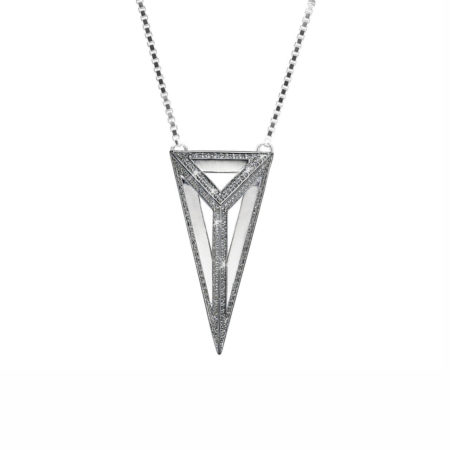 Moratorium Oversized Pyramid Full Pavé Pendant Necklace - womens-jewelry, pendant, jewelery -