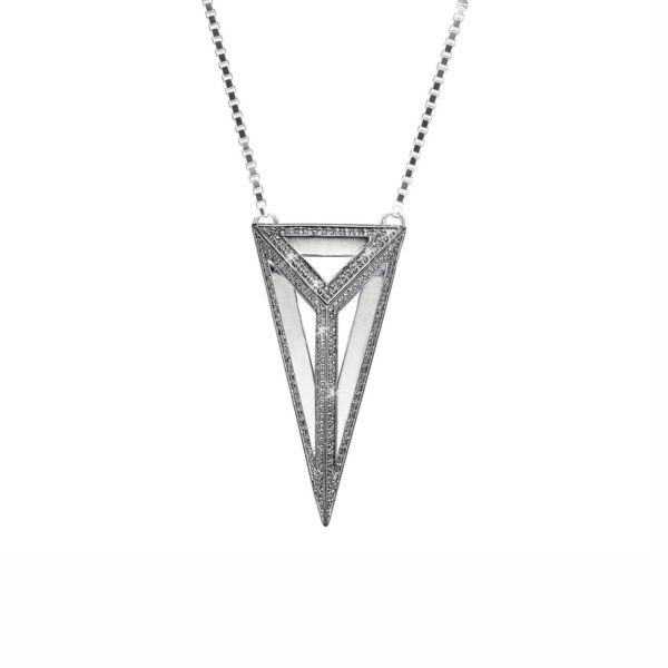 Moratorium Oversized Pyramid Full Pavé Pendant Necklace -  -