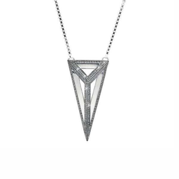 StyleZeitgeist Moratorium Oversized Pyramid Full Pavé Pendant Necklace