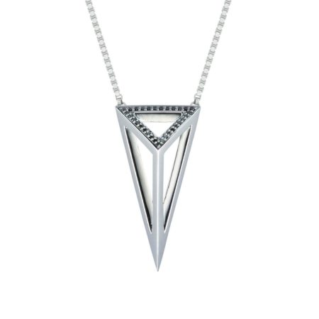 Moratorium Oversized Pyramid Half Pavé Pendant Necklace -  -