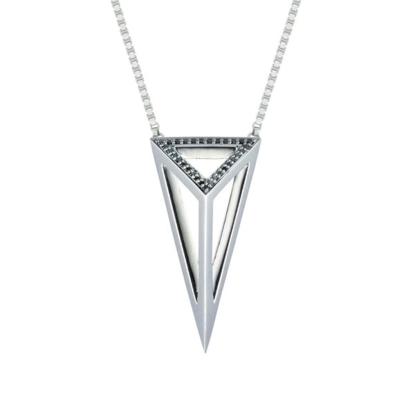 Moratorium Oversized Pyramid Half Pavé Pendant Necklace - womens-jewelry, pendant, jewelery -