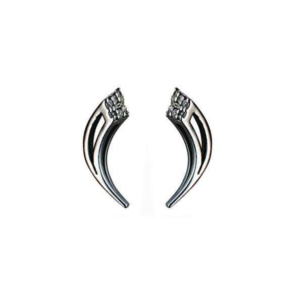 Moratorium Mini Sabre Half Pavé Earrings -  -