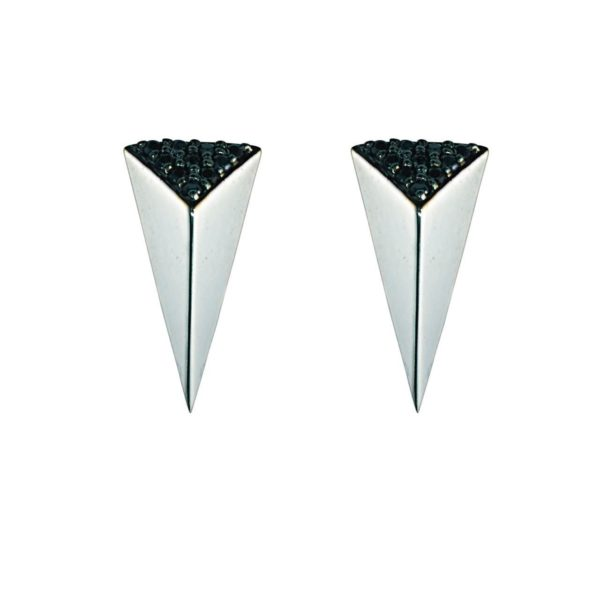 Moratorium Small Pyramid Half Pavé Earrings -  -