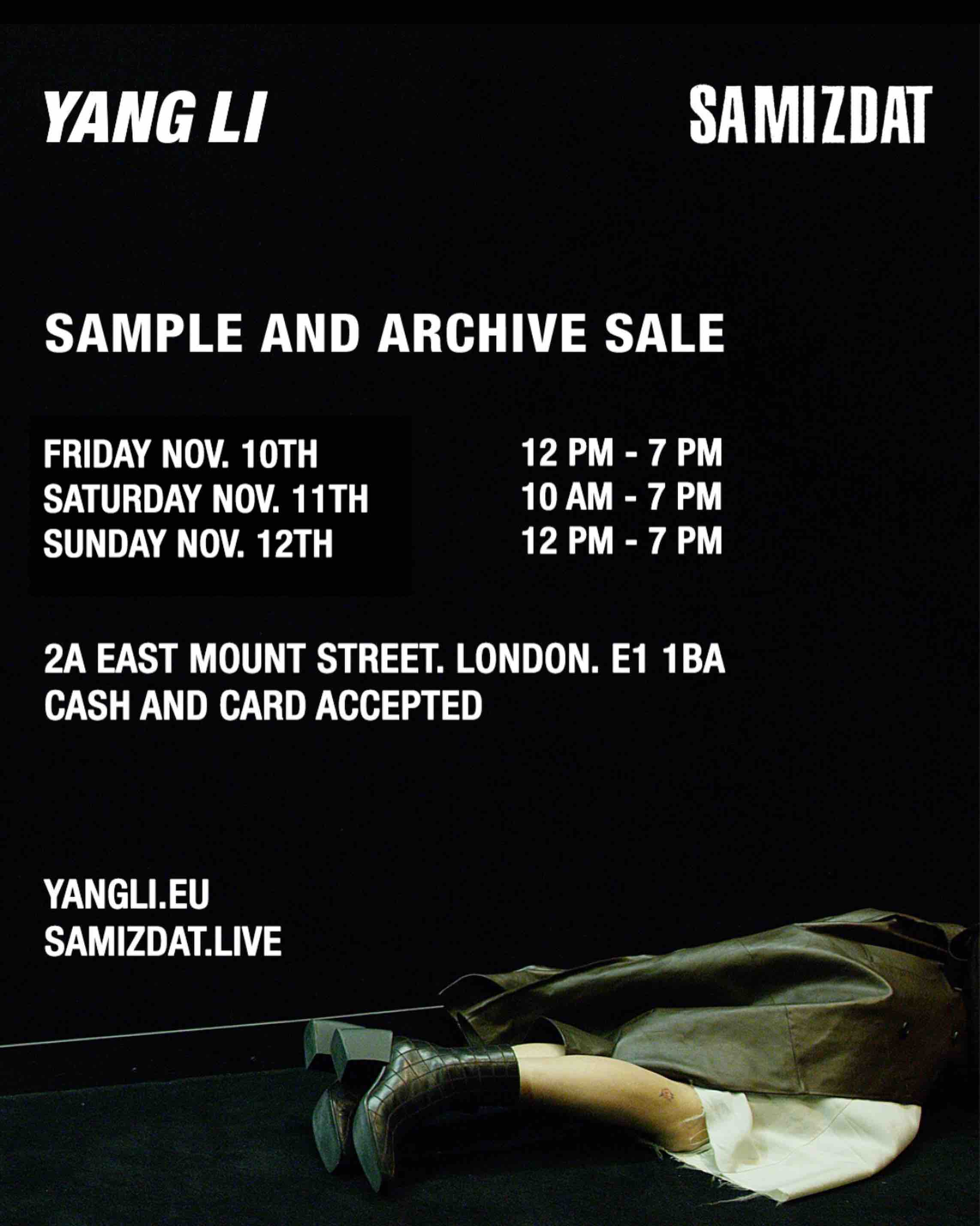 Yang Li and Samizdat Sample Sale - events - Yang Li, sample sale, Sale, Fashion